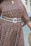 Красива сукня з поясом 696-01 квітковий візерунок