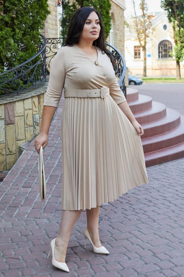 Сукня 667-03 бежевого кольору