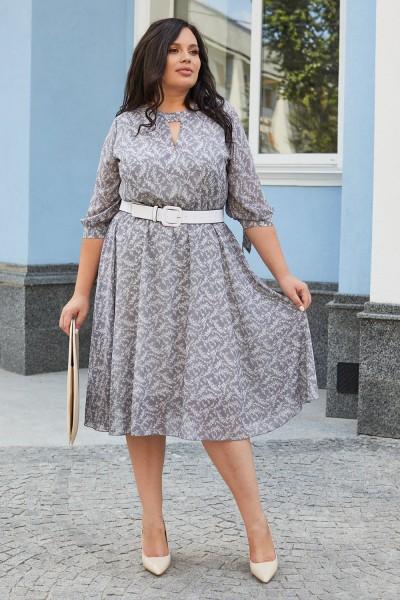 Красивое платье с поясом 696-02 цветочный узор