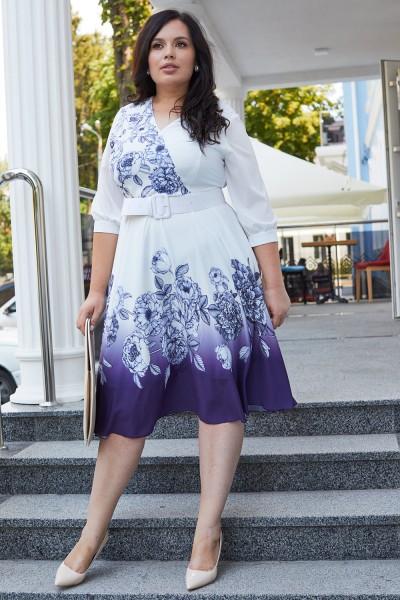 Красивое платье с поясом 697-01 фиолетовое