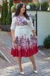 Красивое платье с поясом 697-02 красное