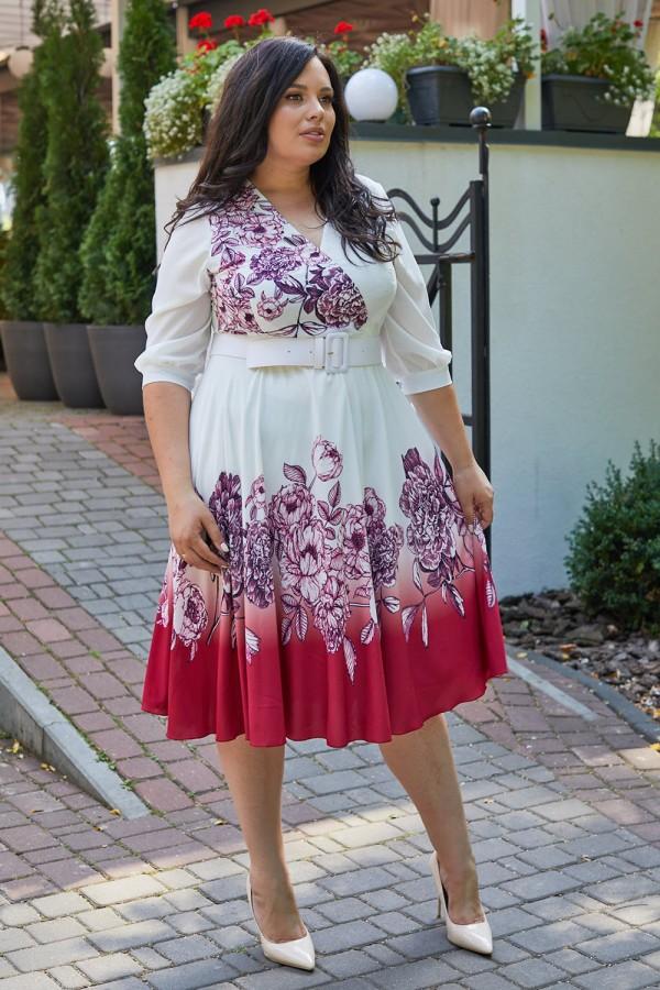 Красива сукня з поясом 697-02 червона