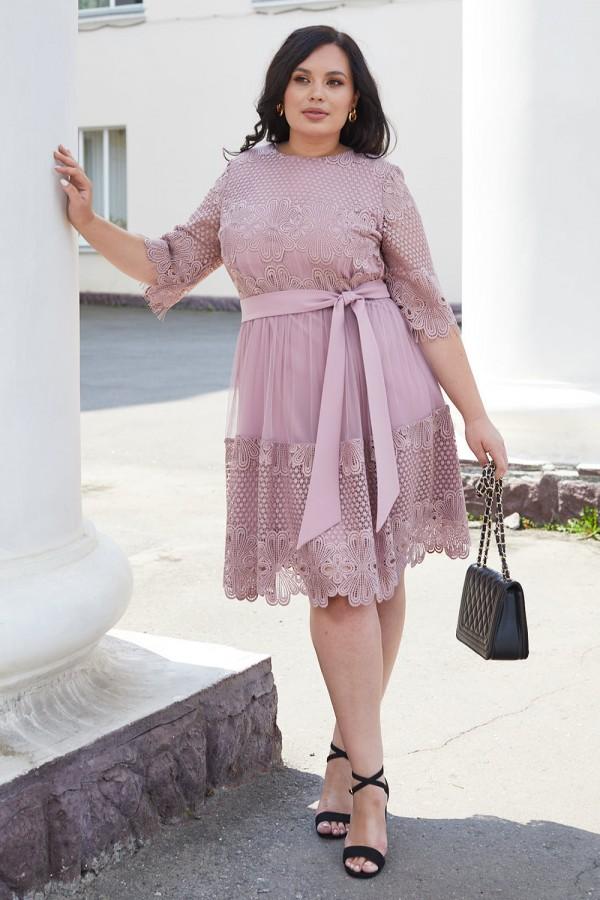 Красива сукня з мереживом 698-01 рожева