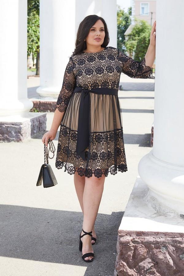 Красива сукня з мереживом 698-02 чорна