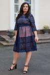 Красива сукня з мереживом 698-03 синя