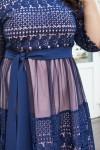 Красивое платье с кружевом 698-03 синее