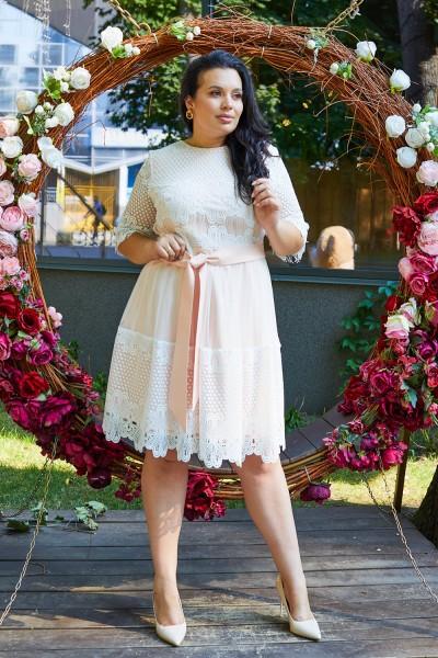 Красива сукня з мереживом 698-05 пудрова