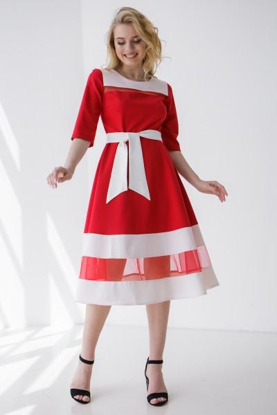 Платье 406/1-01 красное