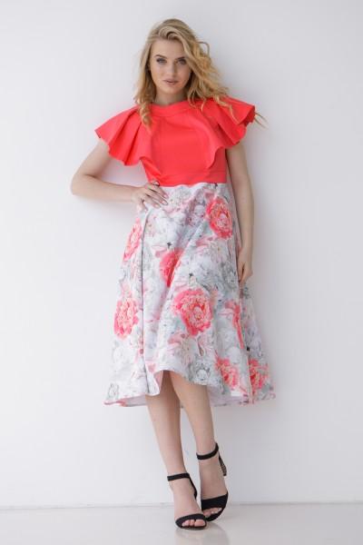 Платье 595-01 коралловое с принтом