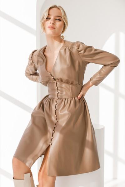 Платье 829-01 коричневое