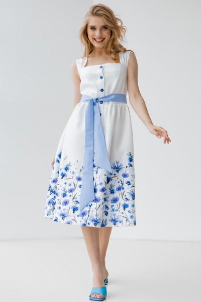 Платье 800-01 белое с васильками