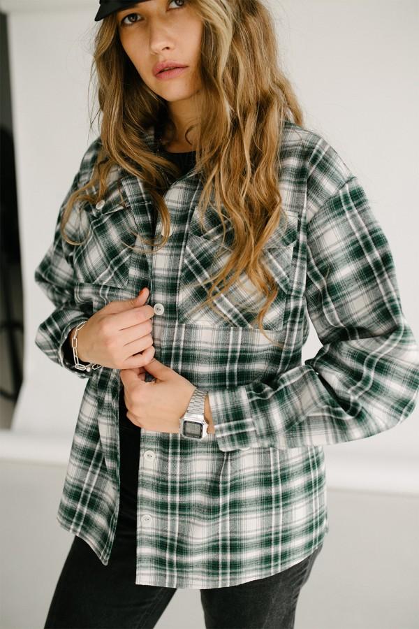 Теплая рубашка 155-02 зеленая