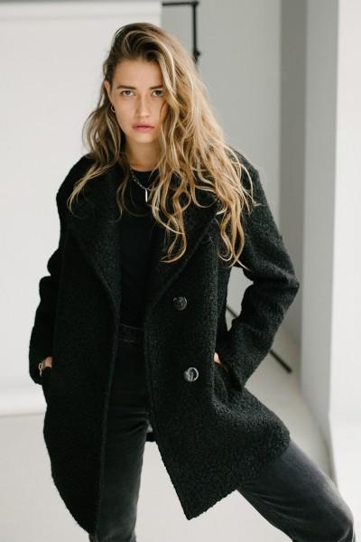 Пальто барашек 159-02 черное