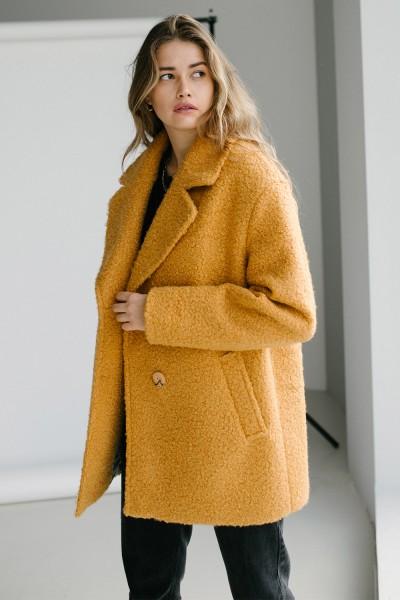 Пальто баранчик 159-03 гірчиця