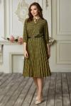 Платье 671-04 горчичный квадратный узор