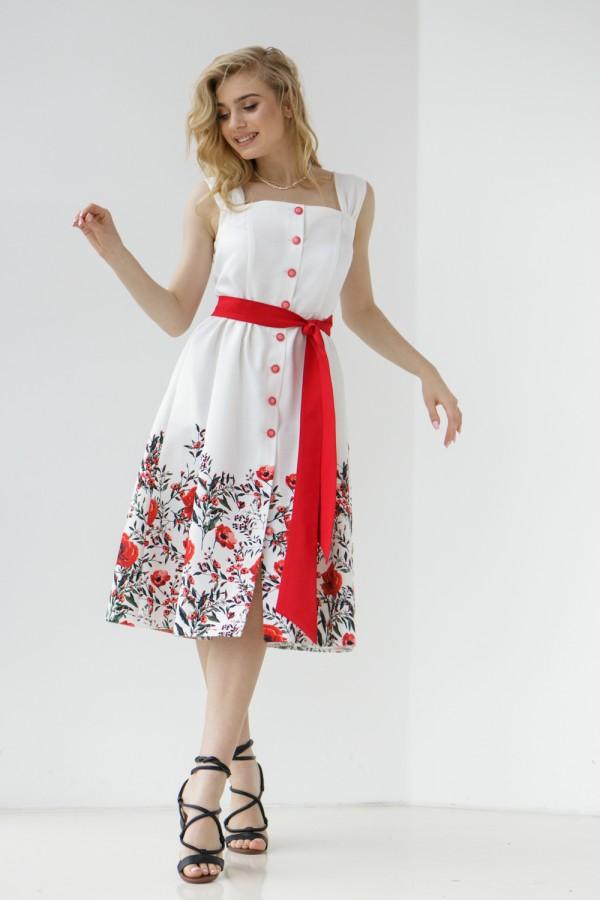Сукня 800-02 біла з маками