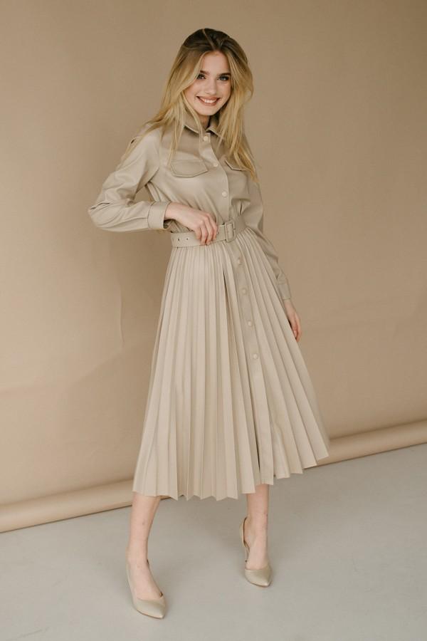 Красива сукня 172-01 бежева
