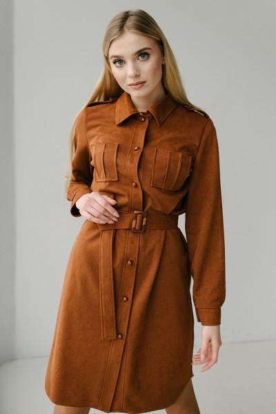 Платье рубашка 177-01 теракот