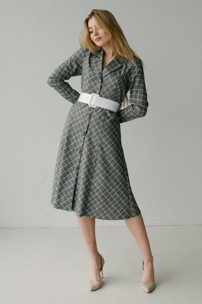 Платье серое 179-01 в клетку