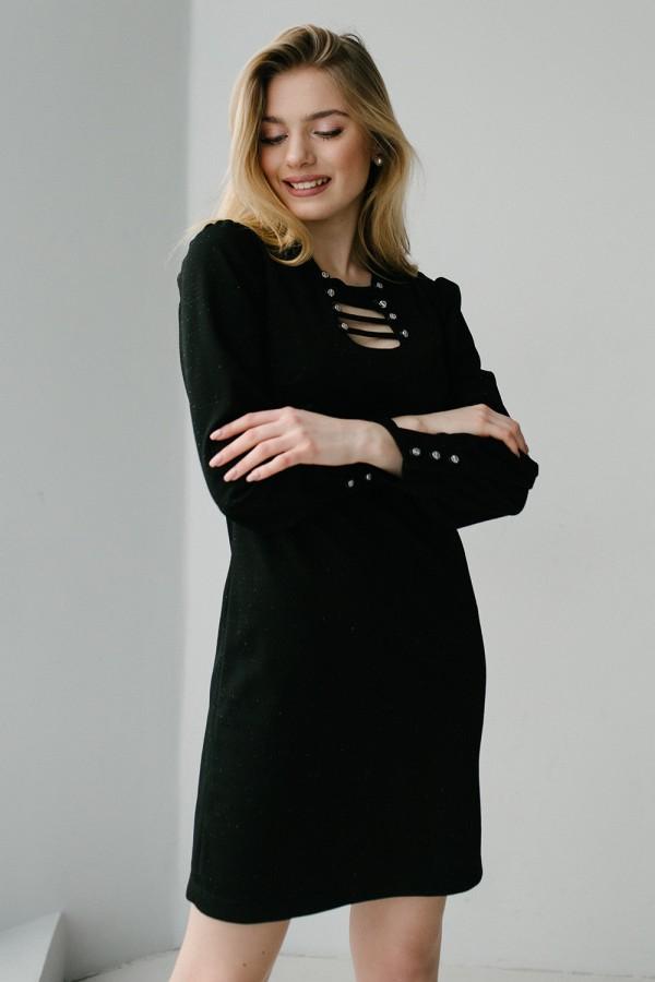 Красивое праздничное платье 187-01 черного цвета