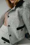 Нарядный женский белый костюм 188-01 с черным