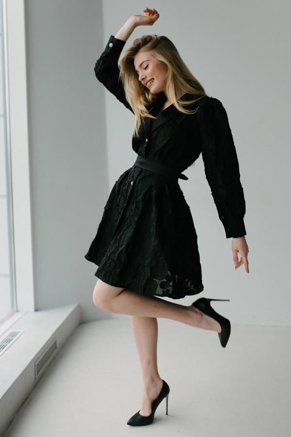 Черное праздничное платье 189-02 с черной накидкой