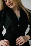 Сіра святкова сукня 189-01 з чорною накидкою