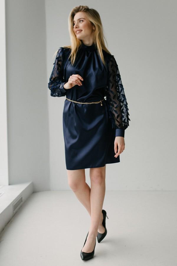 Плаття темно синє з шовку і з аплікаційною сіткою