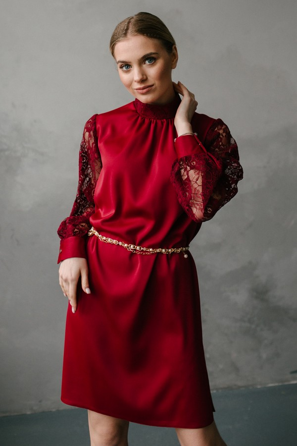 Платье цвета марсал 190-02 из шелка и с аппликационной сеткой