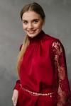 Плаття кольору марсал 190-02 з шовку і з аплікаційною сіткою