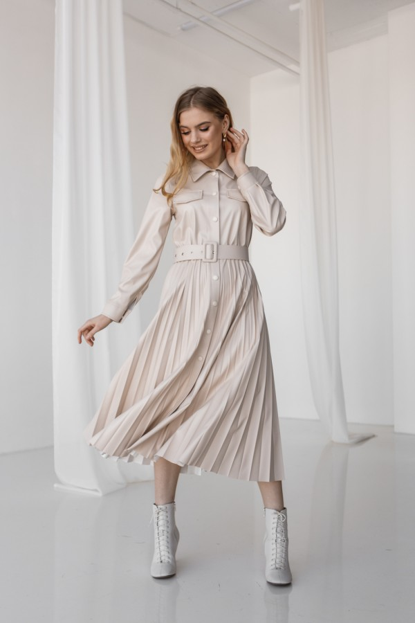 Красива сукня 172-05 світло-бежевого кольору
