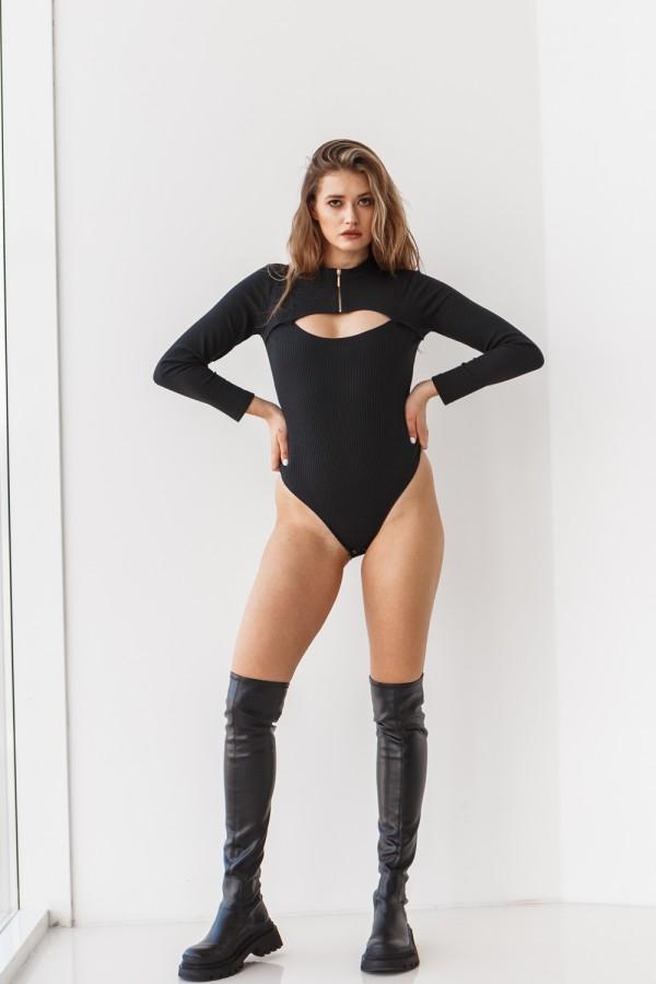 Жіноче чорне боді 220-01