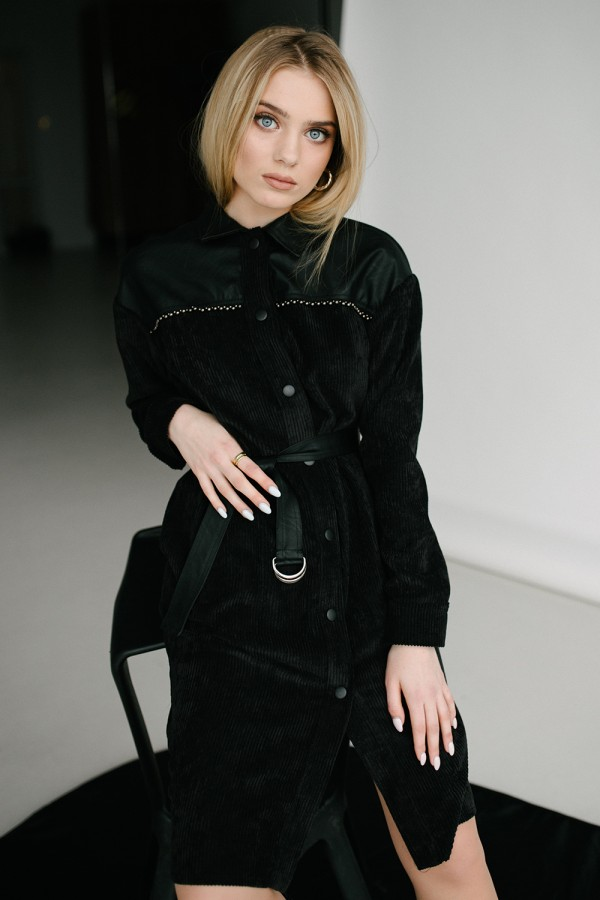 Платье рубашка 157-01 черное