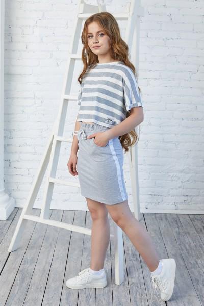 Детская юбка 113-01 серая