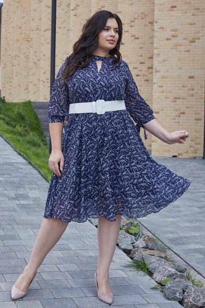 Красивое платье с поясом 696-03 цветочный узор