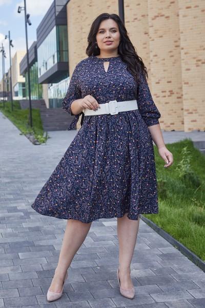 Красивое платье с поясом 696-04 цветочный узор