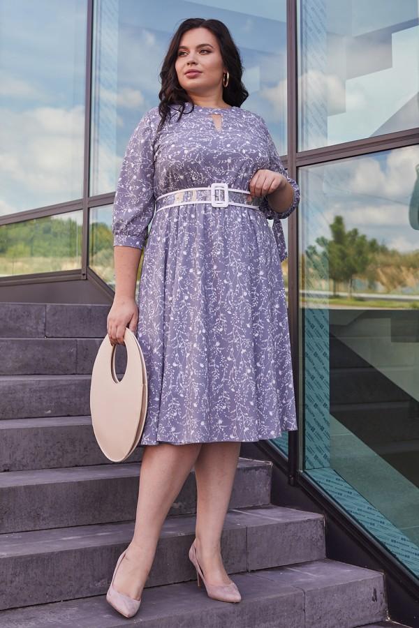 Красивое платье с поясом 696-05 цветочный узор