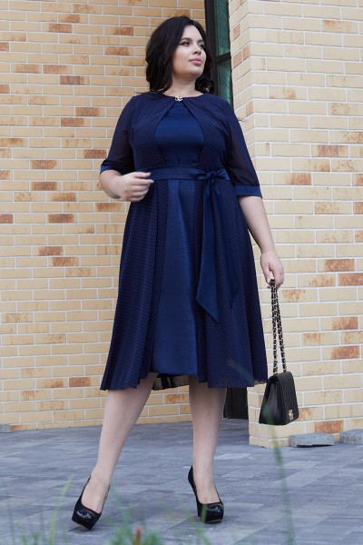 Элегантное платье с поясом 701-01 синее