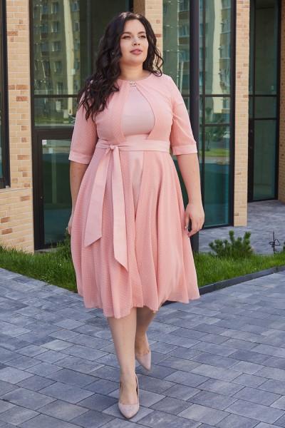 Элегантное платье с поясом 701-02 розовое