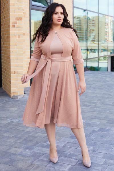 Элегантное платье с поясом 701-03 бежевое