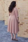 Елегантна сукня з поясом 701-03 бежева