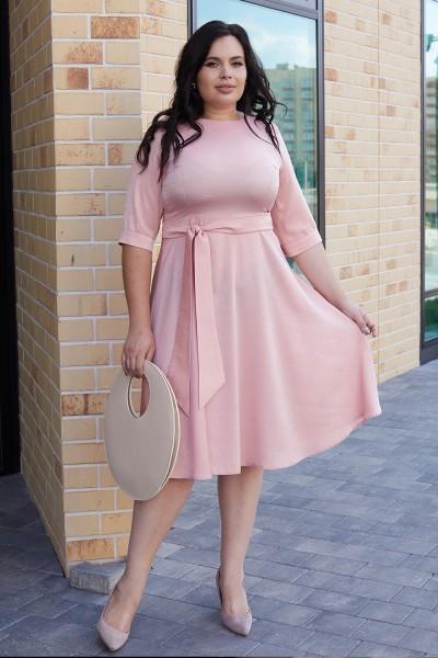 Класична сукня з поясом 701/1-01 рожева