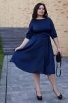 Класична сукня з поясом 701/1-02 синя