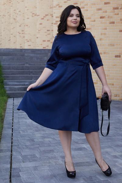 Классическое платье с поясом 701/1-02 синее