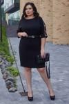 Элегантное платье с поясом 702-01 черное