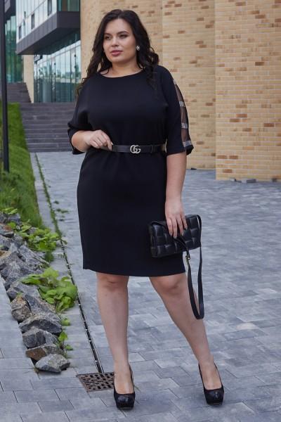 Елегантна сукня з поясом 702-01 чорна