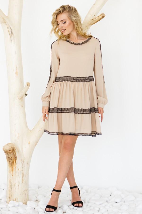 Платье 640-01 бежевое
