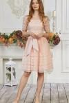 Платье 476/1-04 пудровое с кружевом