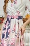Платье 590-1 белое с цветами и градиентом