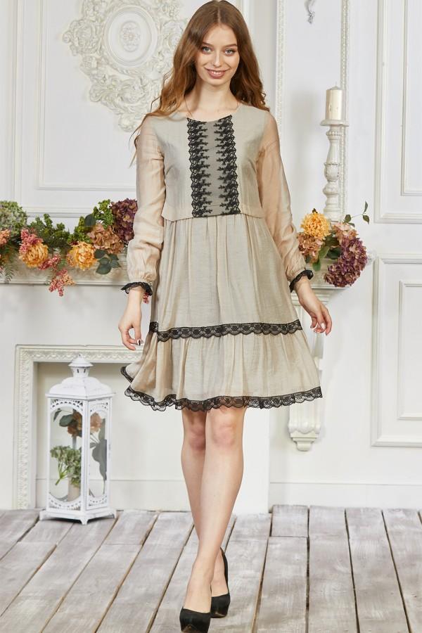 Плаття 641/1-01 бежевого кольору